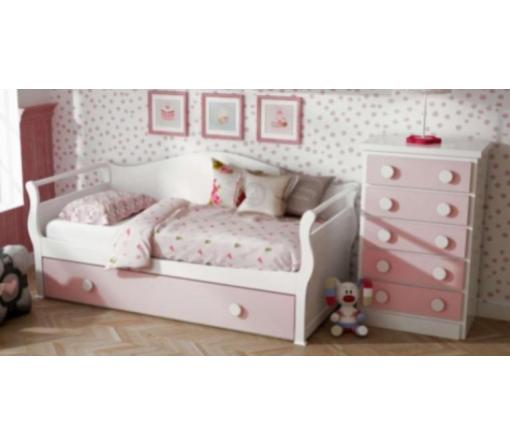 Cama Gondola blanca y rosa.