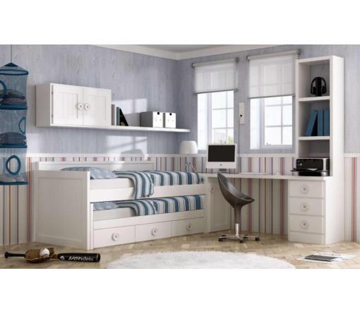 Dormitorios juveniles blancos.