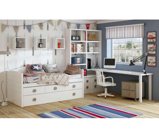 Dormitorios infantiles lacados en blanco de muebles for Cama compacta infantil